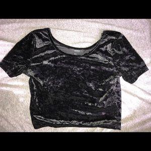 Black velvet crop top